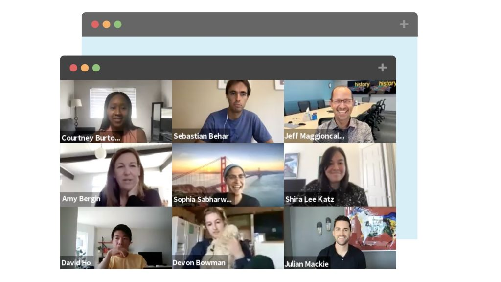 Coursera employees in a Zoom meeting.